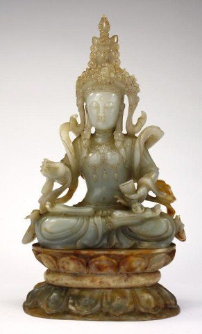 CHINESE CARVED JADE FIGURE OF A SEATED BUDDHA