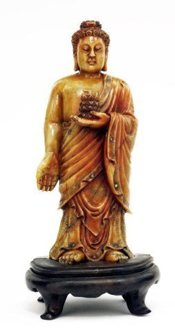 ANTIQUE CHINESE CARVED SOAPSTONE OF BUDDHA