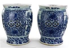 PAIR OF CHINESE BLUE & WHITE CERAMIC GARDEN SEATS