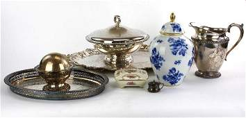 GROUP OF SILVER PLATED SILVER AND PORCELAIN ITEMS