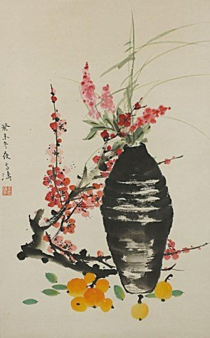 CHINESE SCROLL PAINTING OF STILL LIFE SCENE