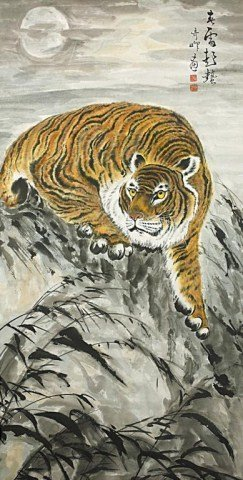 CHINESE SCROLL PAINTING OF A TIGER