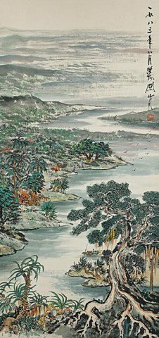 CHINESE SCROLL PAINTING OF A COASTLINE