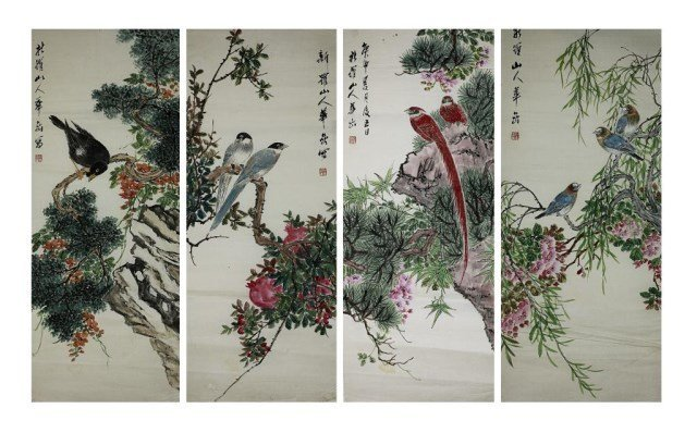 FOUR CHINESE BIRD AND FLOWER PAINTINGS ON PAPER