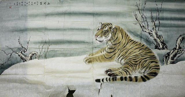 CHINESE PAINTING OF A TIGER ON PAPER