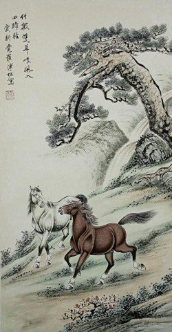 CHINESE PAINTING OF TWO HORSES UNDER A PINE TREE