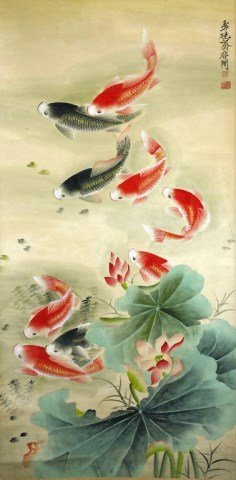 CHINESE SCROLL PAINTING OF KOI AND LOTUS PLANT