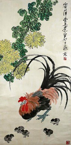 CHINESE SCROLL PAINTING OF A ROOSTER AND CHICKS
