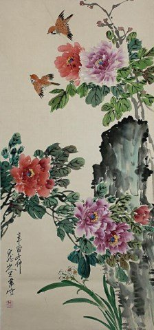 CHINESE PAINTING OF BIRD AND FLOWER MOTIF