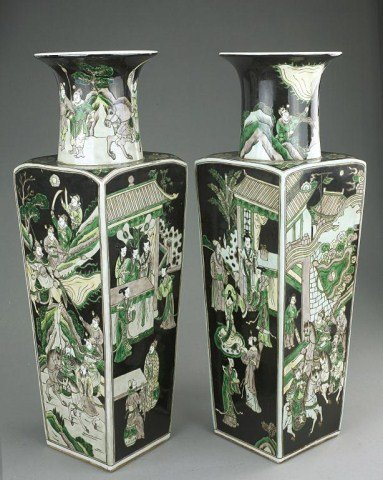 PAIR OF CHINESE FAMILLE NOIR SQUARE VASES