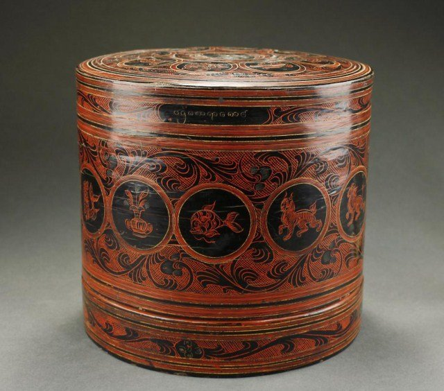 ANTIQUE BURMESE/ INDONESIAN ROUND LACQUER BOX