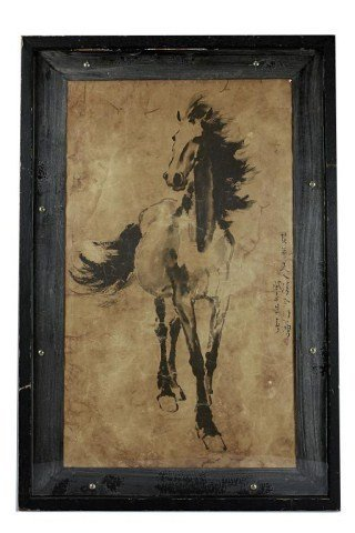 FRAMED OLD CHINESE SCROLL PRINT OF A HORSE