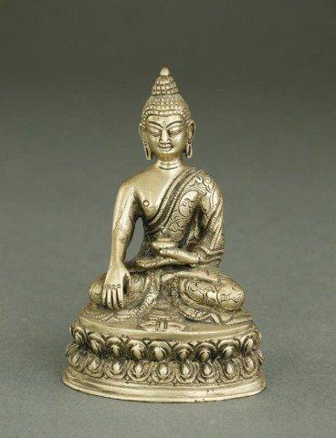 CAST METAL FIGURE OF SEATED BUDDHA