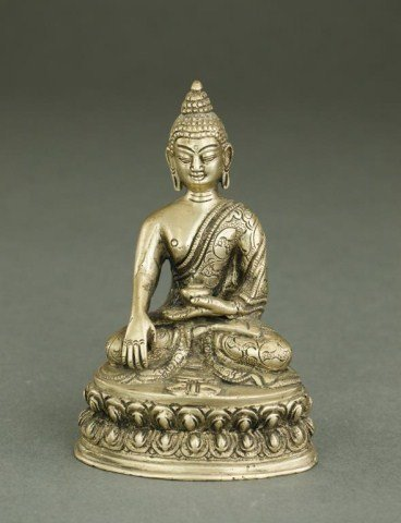 CAST METAL FIGURE OF SEATED BUDDHA