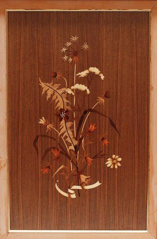 PAIR OF FRAMED WOOD INLAY PICTURES - 3