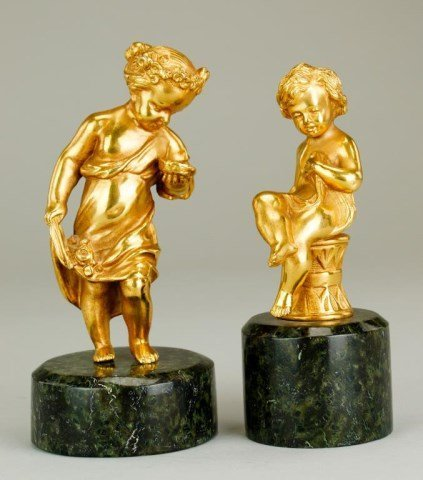 PAIR OF SMALL GILT BRONZE FIGURES OF PUTTI