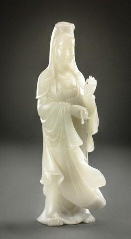 MAGNIFICENT CHINESE WHITE JADE FIGURE OF GUANYIN