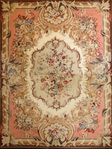LARGE AUBUSSON TAPESTRY WITH FLORAL MOTIF