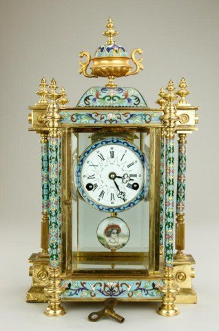 ANTIQUE CLOISONNE MANTEL CLOCK WITH PENDULUM