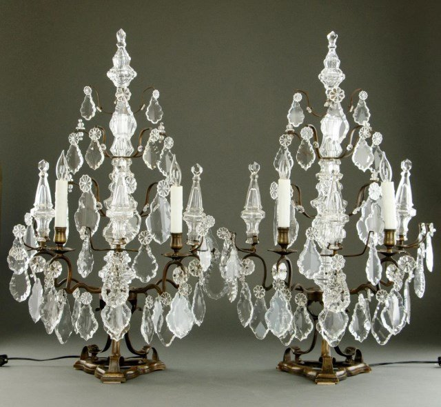 PAIR OF LOUIS XV STYLE CANDELABRA LAMPS