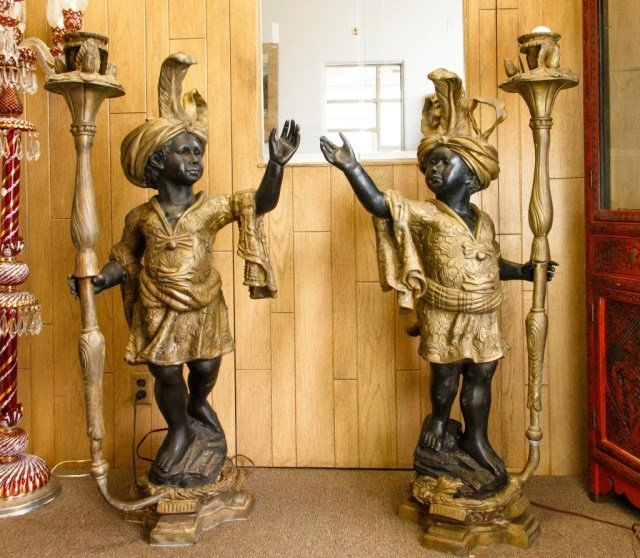 PAIR OF GILT AND PATINATED BRONZE BLACKEMORES