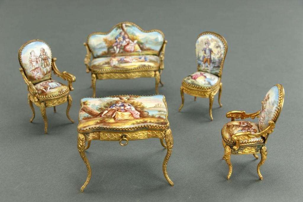 FIVE-PIECE VIENNESE ENAMELED MINIATURE DINING SET