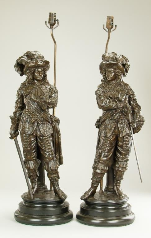 PAIR OF BRONZE FIGURES OF MUSKETEERS SET AS LAMPS