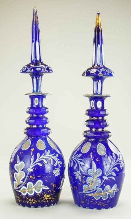19TH CENTURY PAIR OF BOHEMIAN GLASS DECANTERS