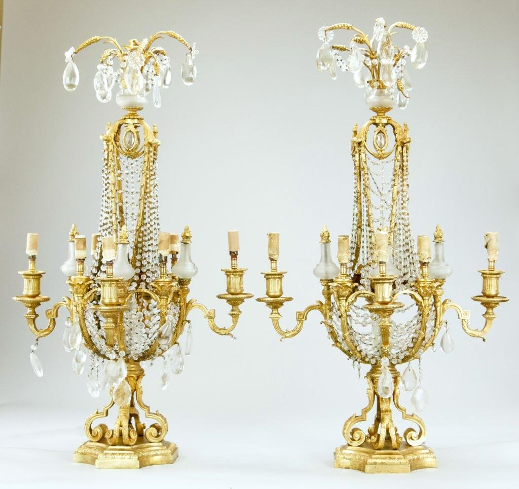ANTIQUE PAIR OF EIGHT-LIGHT CANDELABRA LAMPS