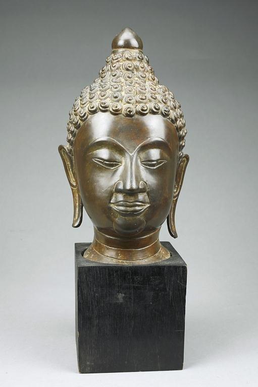 TIBETAN BRONZE BUDDHA HEAD