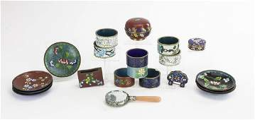 TWENTY SMALL ASSORTED PIECES OF CLOISONNE