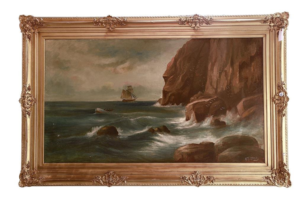 MASSIVE FRAMED OIL PAINTING ON CANVAS BY LEMOS