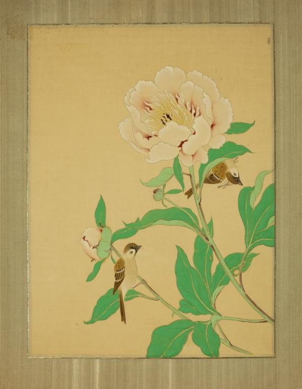 CHINESE PAINTING OF BIRDS AND PEONIES ON PAPER