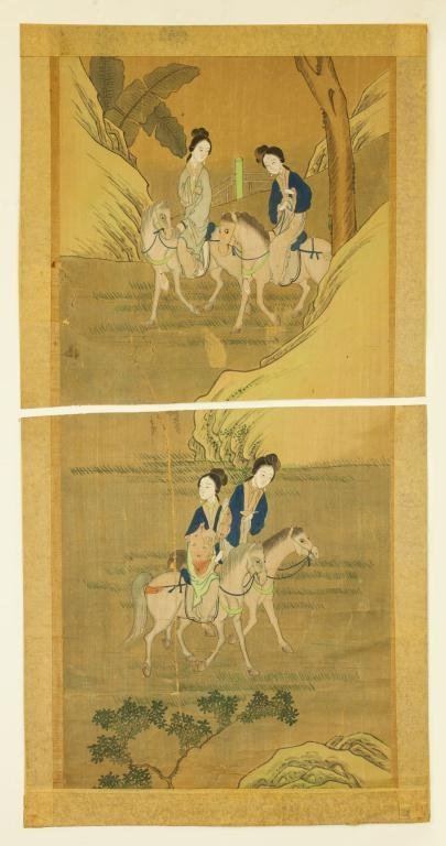 PAIR OF CHINESE PAINTINGS OF BEAUTIES ON HORSES