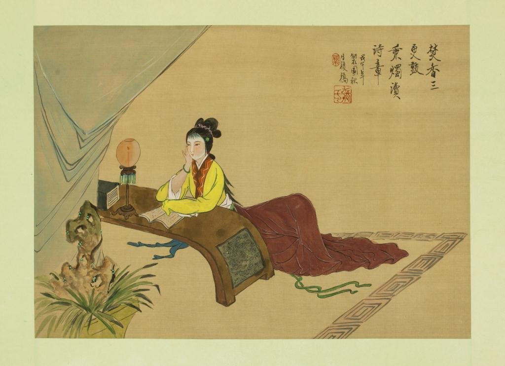 CHINESE PAINTING ON SILK OF A BEAUTY READING