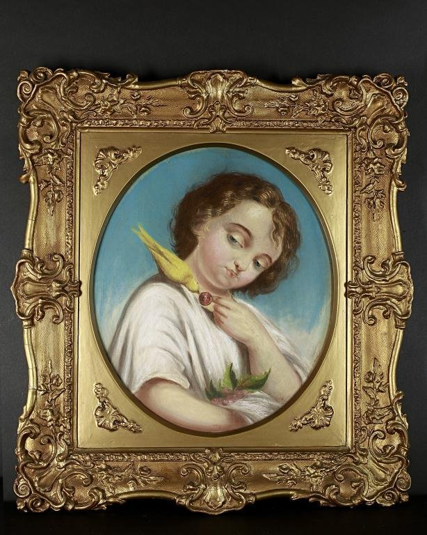 PASTEL PORTRAIT OF A BOY PLAYING WITH  A CANARY