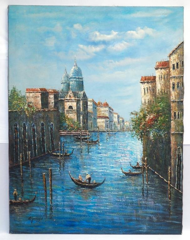 OIL ON CANVAS PAINTING OF CANAL WITH GONDOLAS