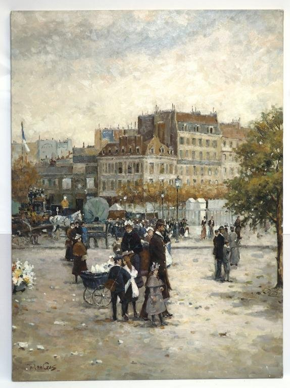OIL ON CANVAS PAINTING OF A TOWN SQUARE IN WINTER