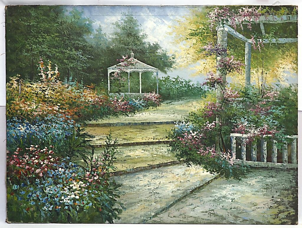 OIL ON CANVAS PAINTING OF GARDEN WITH GAZEBOS
