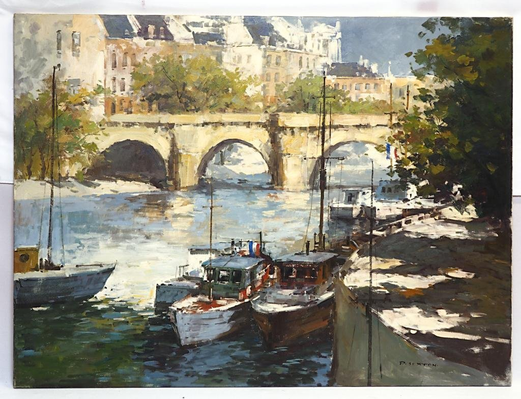 OIL ON CANVAS PAINTING OF FRENCH RIVER WITH BOATS