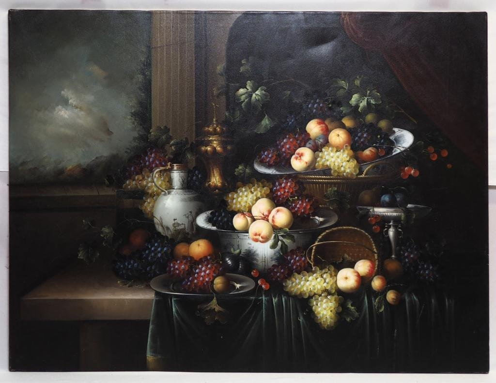 OIL ON CANVAS PAINTING OF A STILL LIFE