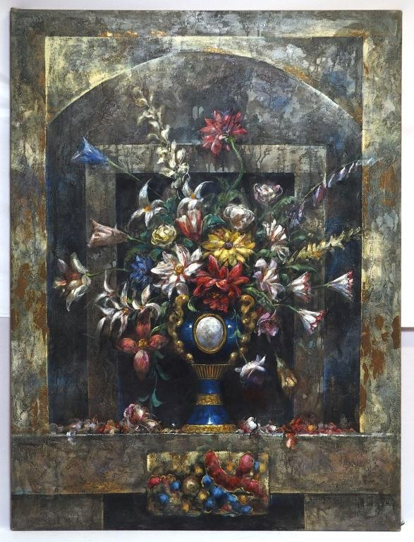 OIL ON CANVAS PAINTING WITH VASE OF FLOWERS