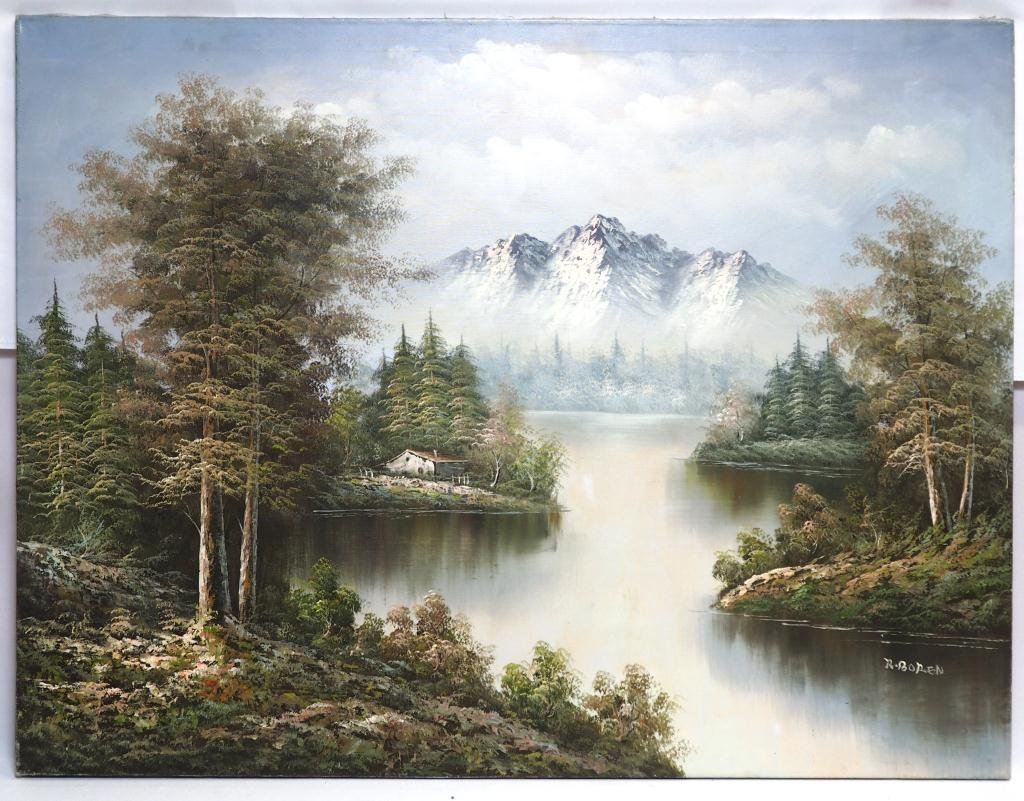 OIL ON CANVAS PAINTING OF MOUNTAIN AND RIVER