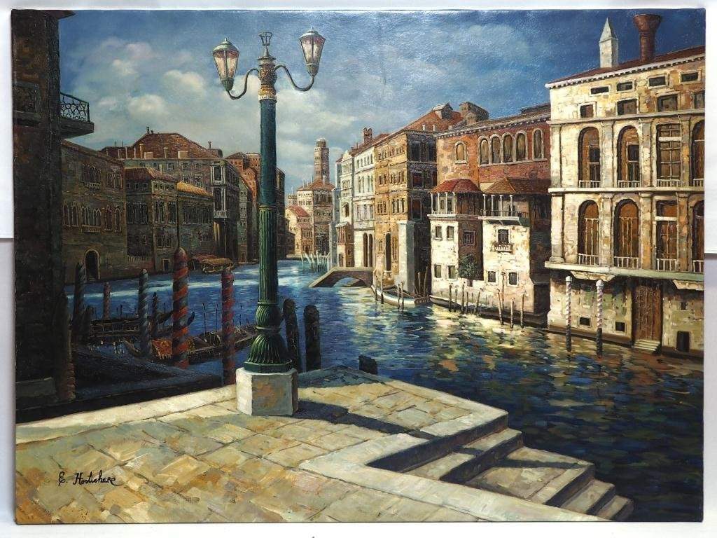 OIL ON CANVAS PAINTING OF A CANAL CITY