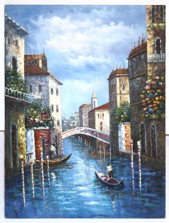 OIL ON CANVAS PAINTING OF GONDOLAS ON CANAL