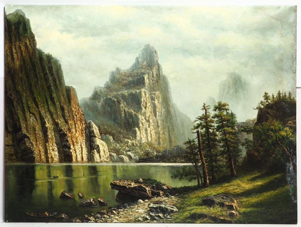 OIL ON CANVAS PAINTING OF A CLIFF AND PLACID RIVER