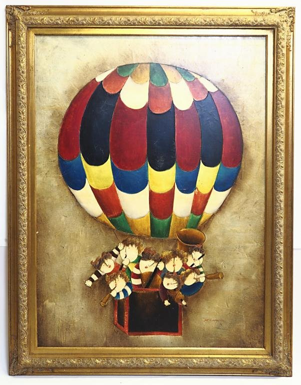 FRAMED PAINTING OF HOT AIR BALLOON WITH FIGURES