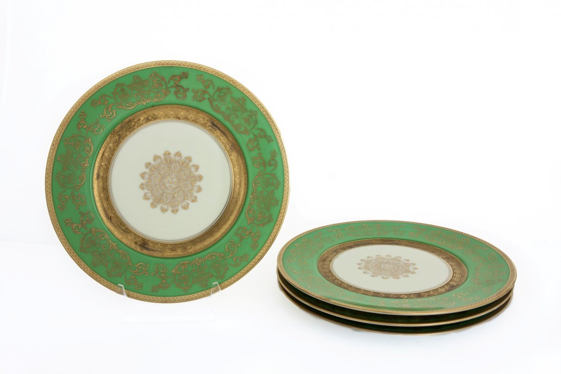 SET OF BOHEMIAN PLATES WITH GILT DETAIL