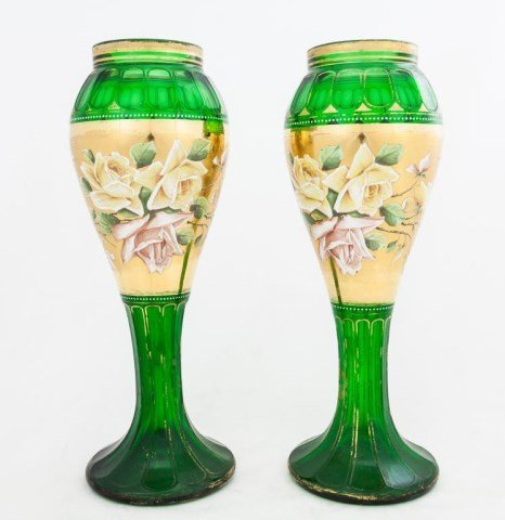 PAIR OF GREEN BOHEMIAN GLASS VASES