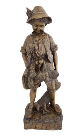 BRONZE STATUE OF A YOUNG HUNTER